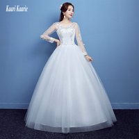 vestido casamento Ivory Wedding Gowns 2018 Wedding Dresses White Long Sleeve Scoop Tulle Appliques Crystal Lace-Up Floor Length