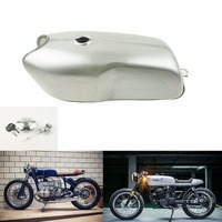 9L/2.4Gal Vintage Cafe Racer Gas Tank Universal Motorcycle Fuel Tank Bare Steel with Thick Iron Cap Switch for YAMAHA RD50 RD350