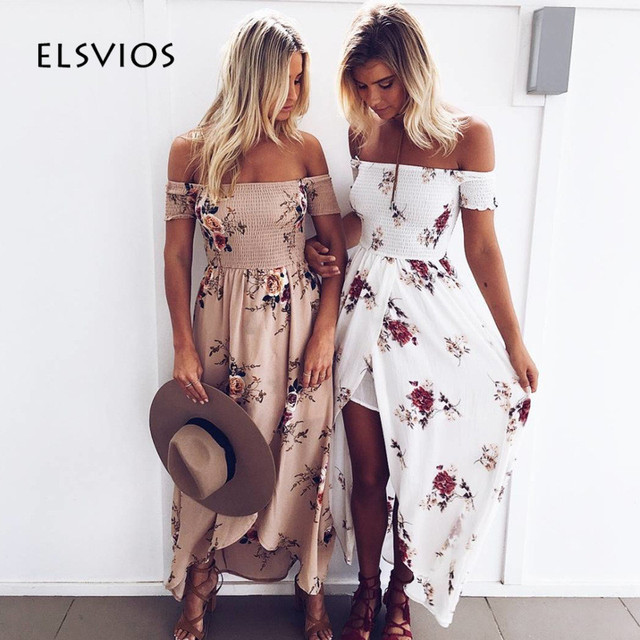 ELSVIOS Boho Style Off Shoulder Women Long Dress 2017 New Beach Floral Print Summer Dress Vintage Chiffon Slash Neck Maxi Dress
