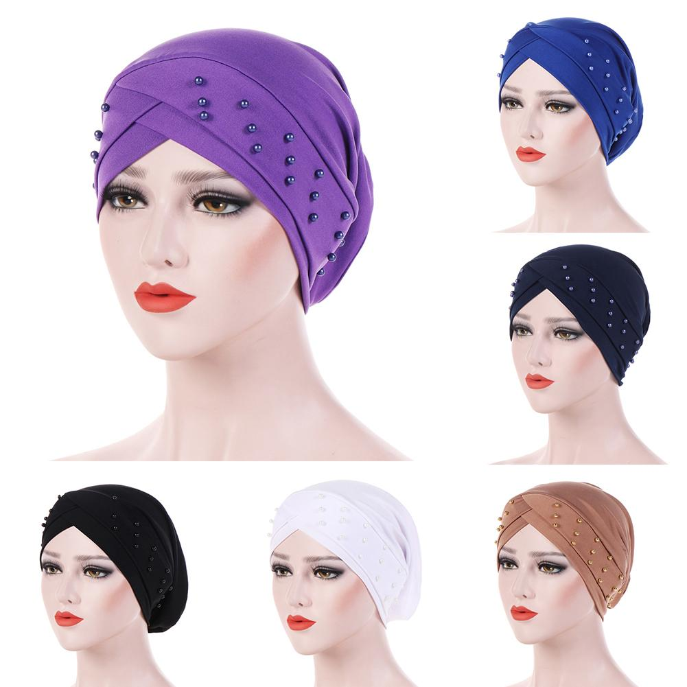 Autumn Winter Women Beads Elastic Turban Hat Solid Color Muslim Cancer Chemo Cap Hijab Head Wrap headpiece