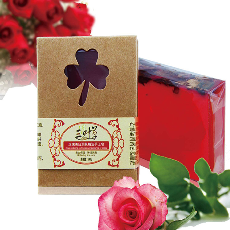 100g Pure natural Rose essential oil Rose petals Handmade Soap Whitening Skin Moisturizing Reduce melanin Cleansing Bath Soap bl fu185a sp 8eh01gc01 original projector lamp with housing for optoma hd66 projector