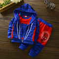 2016 Fashion Spider Man Boys Autumn Hoodies Children Sets Toddler Long Sleeve Sweatshirt Coats+Baby Pants Kids Jacket Clothes