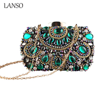 Super Luxury 100% Hand Made Crystal Beaded Clutch Vintage Women Evening Bag Glassbeads Embroidery Banquet Purse Chian Bags