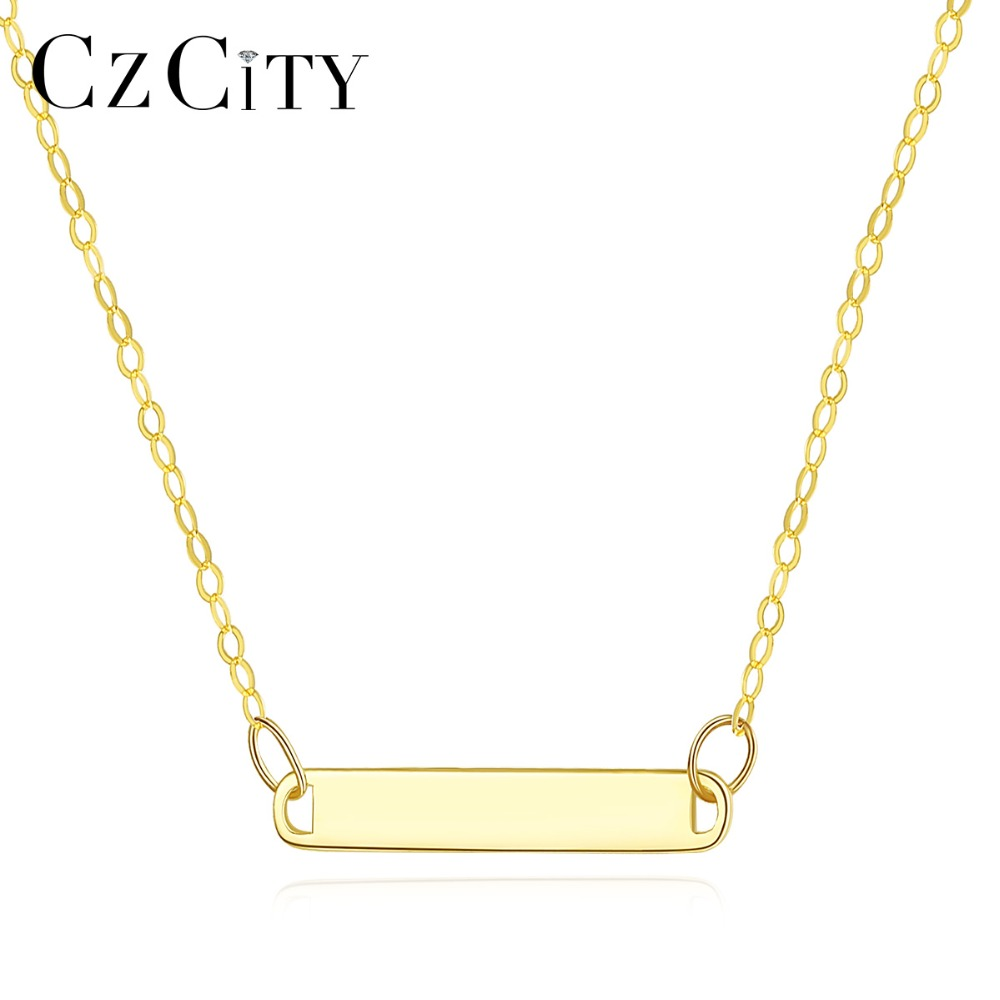 CZCITY 100 14K Gold Simple Long Bar Pendant Necklace for Women Elegant Charming Clavicle Necklace 14K