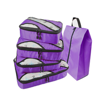 QIUYIN Travel Bag Male 4 Pcs Luggagebag Waterproof Purple Packing Cubes Luggage