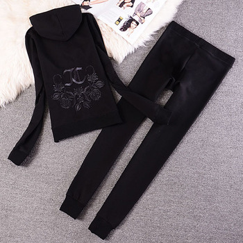 Fashion Casual Velvet Fabric Women Tracksuits Velour Suit Hoodies Tops and Sweat Pants Set S-XXL