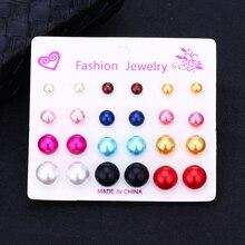 Bohopan 12Pairs/Set Summer Fashion Stud Earrings Set Colorful For Women Hot Selling Spherical Earings Jewelry