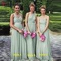 Formal One Shoulder Sleeveless Floor Length Women Wedding Party Dress Sage Green Bridesmaid Dresses robe demoiselle d'honneur