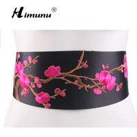 [Himunu] חגורה רחבה פרחים רקומות רוח סיניות קשר אופנה שמלת חגורת נקבה לבן אדום ירוק צהוב רוז מחוך בסגנון עממי