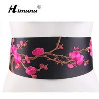 [Himunu] Chinese Wind Embroidered Flowers Wide Belt Knot Fashion Dress Female Belt Folk Style Girdle Red Green Rose Yellow White