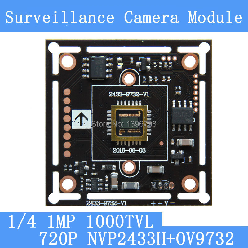 1.0MP1280*720 AHD CCTV 720P Camera Module Circuit Board , 1/4 CMOS NVP2433H + OV9732 1000TVL PCB Board PAL / NTSC Optional lifan 720 720