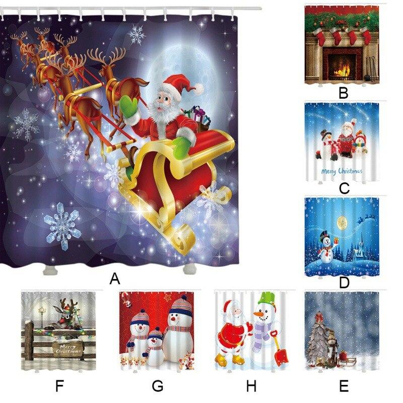 Xmas Elements Santa Claus Gift Waterproof Bathroom Shower Curtain With 12 Hooks