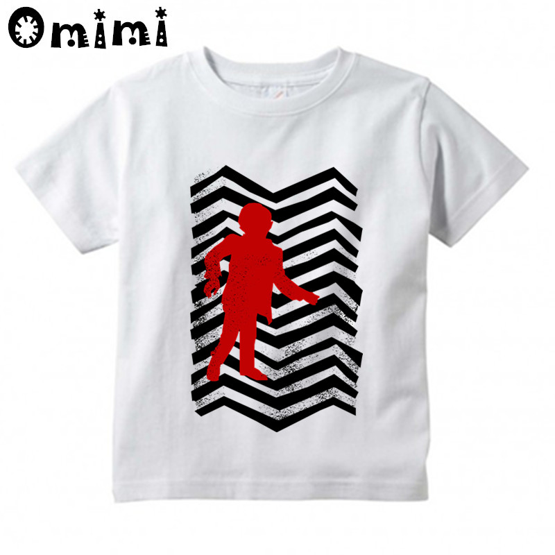Baby Boys/Girls Twin Peaks Black lodge Flag Printed T Shirt Kids Short Sleeve Tops Childrens Funny White T-Shirt