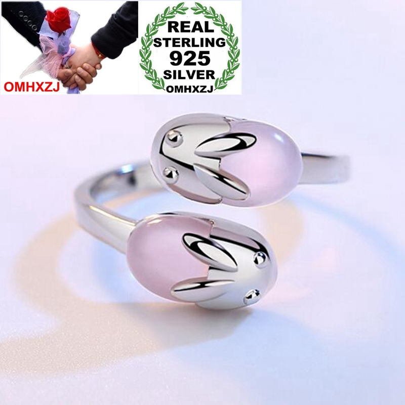 OMHXZJ Wholesale Simple Fashion Lovely Rabbit Rose Quartz OL Gift 925 Sterling Silver Female For Woman Girl Resizable Ring RG44