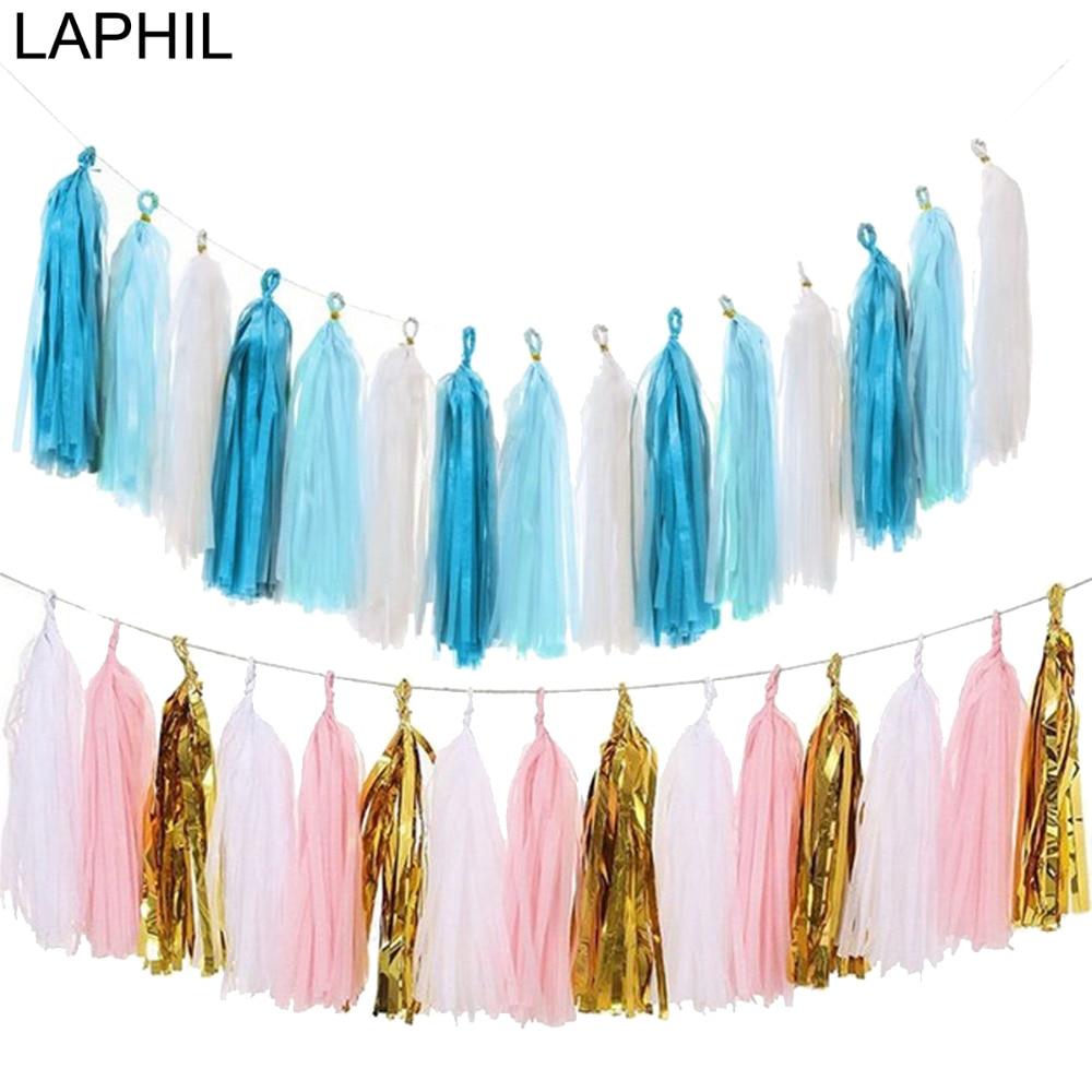 LAPHIL 15pcs Tissue Paper Tassel Garland Blue Pink Baby Shower Favors Birthday Decoration DIY Craft Wedding Event Party Supplies