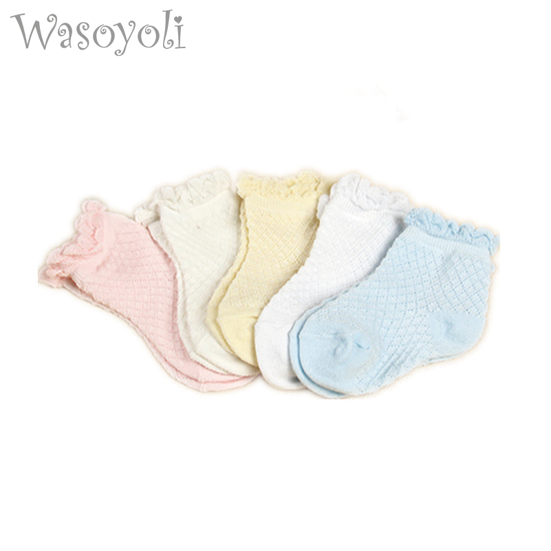 2492288299d 아기 Laciness 짧은 양말 5 짝/몫 0-24 개월 여자 다채로운 여름 얇은 양말 여자 단색 귀여운 양말