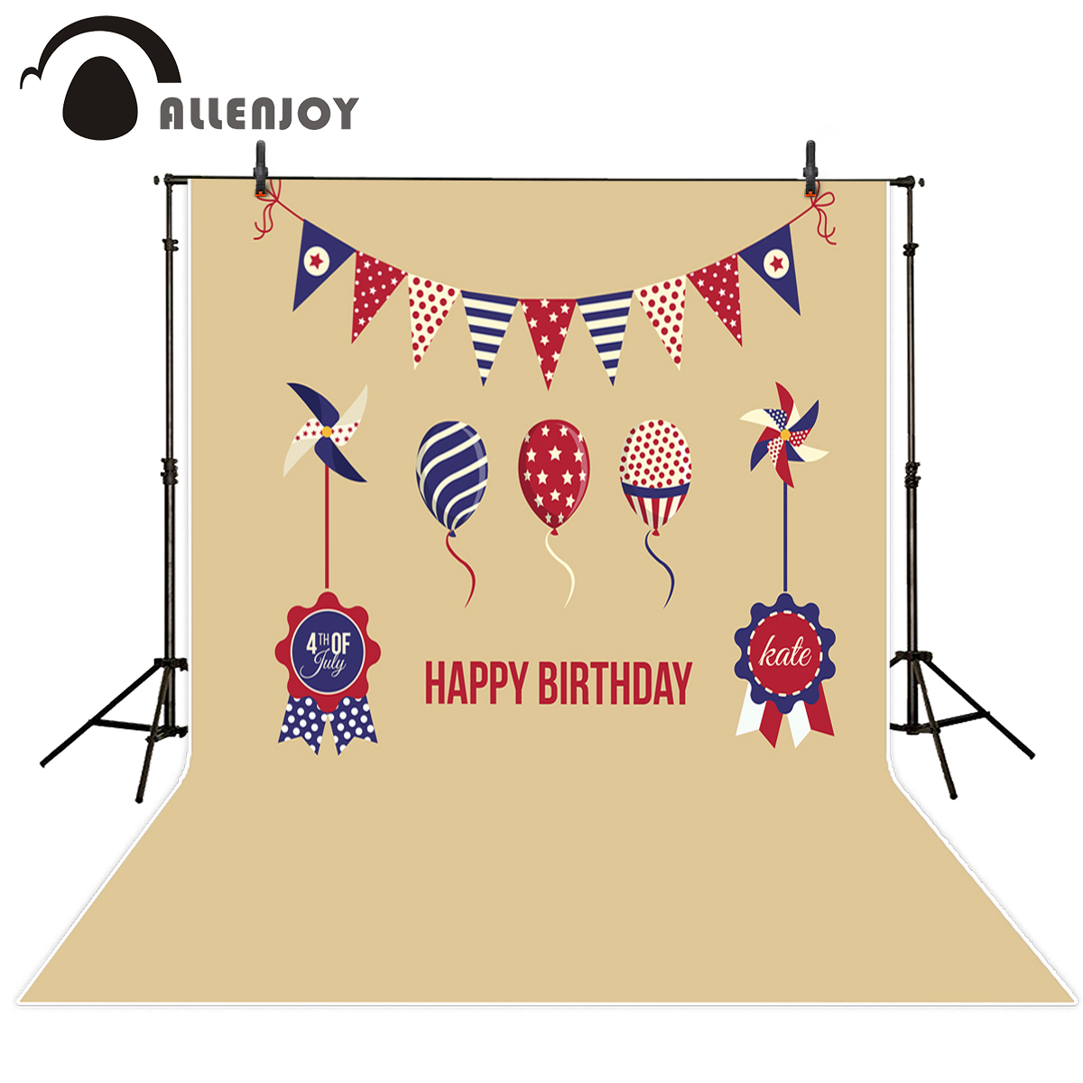 Allenjoy photography backdrop happy birthday stars flags celebrate backgrounds for photo studio for a photo shoot sweet berry go and celebrate happy team