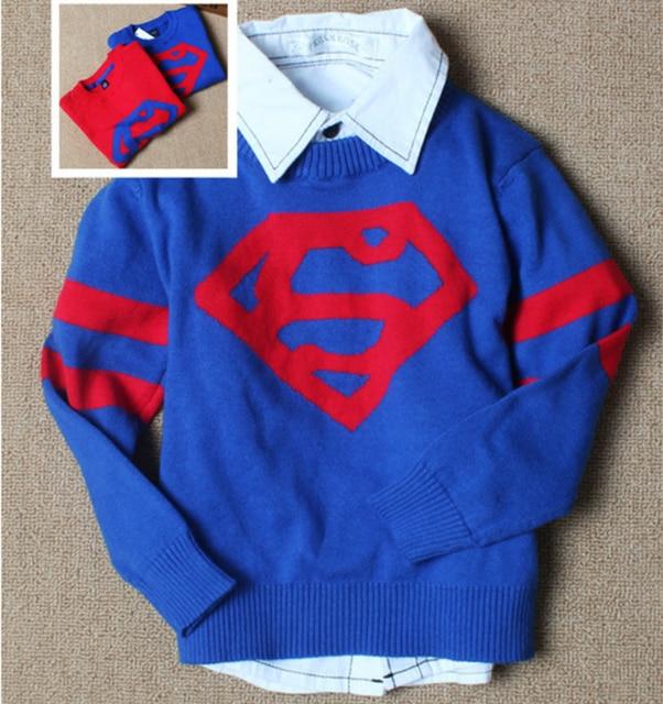Новая зимняя осень супермен 100% Мультфильм младенческой детские свитера новорожденного мальчика девушка свитер дети кардиган детская одежда