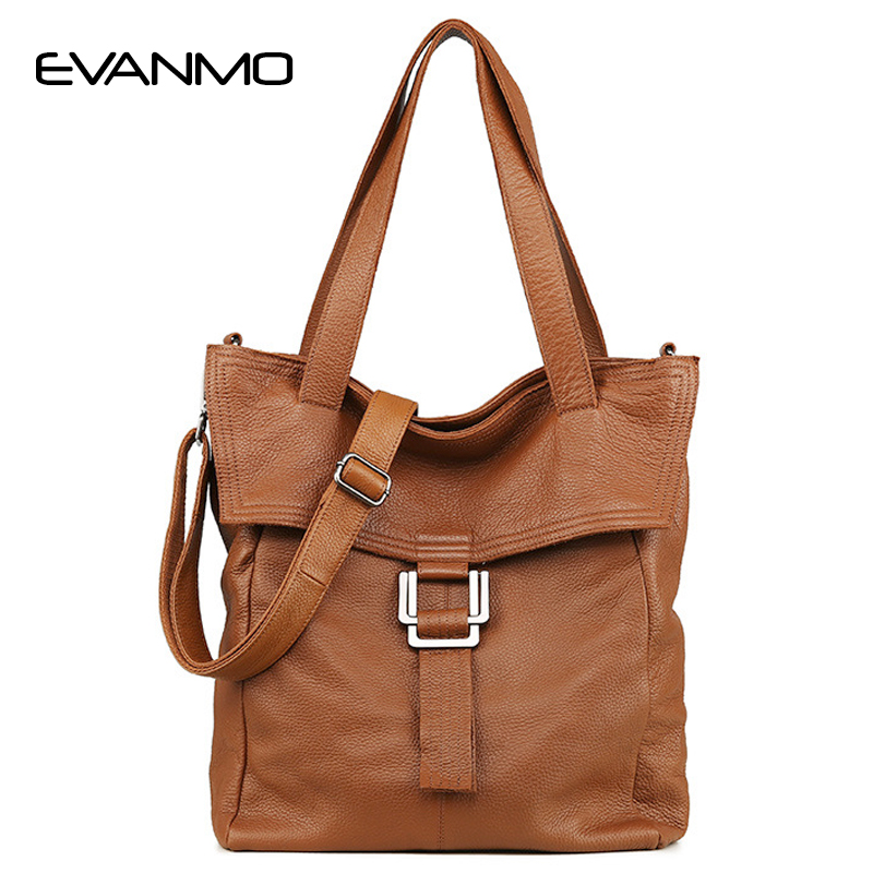 100% Genuine Leather Large Brown Women Shoulder Bag Lady Big Tote Bag Classic Coffee Female Shoulder Bags Shopping Purse unique design women leather canvas women big tote bag knit hollow out basket bag lady brown shopping bucket bags famous designer
