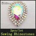 2 pçs/lote Prata Base de Costura Em Pedras De Vidro Cristal AB Rhinestone Applique Para Vestido de Casamento Decorativo