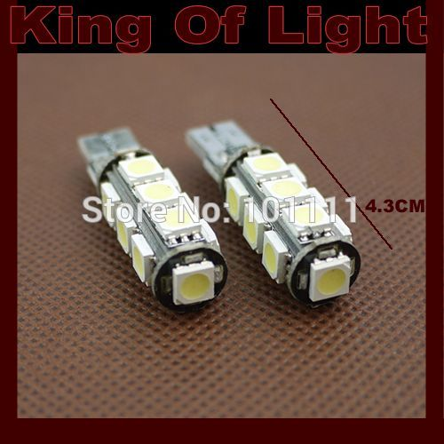2x high quality car led lamp 194 W5W 13smd T10 wedge 13 leds smd 5050 canbus obc error free no error Free shipping