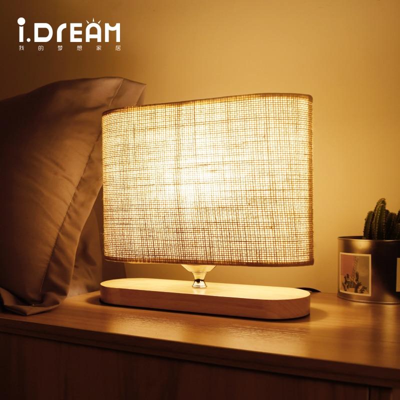 IDERAN Table Lamp Wooden Desk Lamp Lights odern Night Lighting AC 110V220V Key Switch Dimmer Switch for Home Bedroom Decor Light