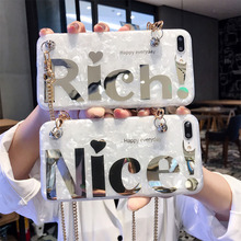 shoulder chain strap tpu case for iphone 8 7 6s 6 plus X XR XS MAX cover glitter foil soft silicon protective phone bag cap