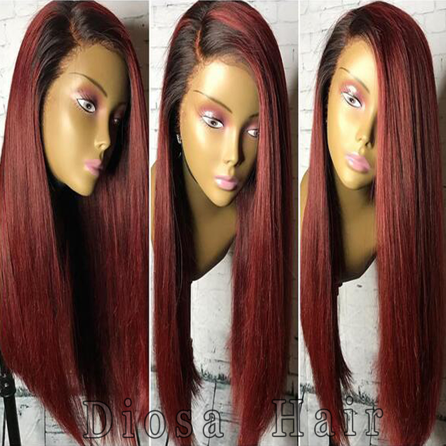 diosa ombre human hair wigs two tone silky straight lace
