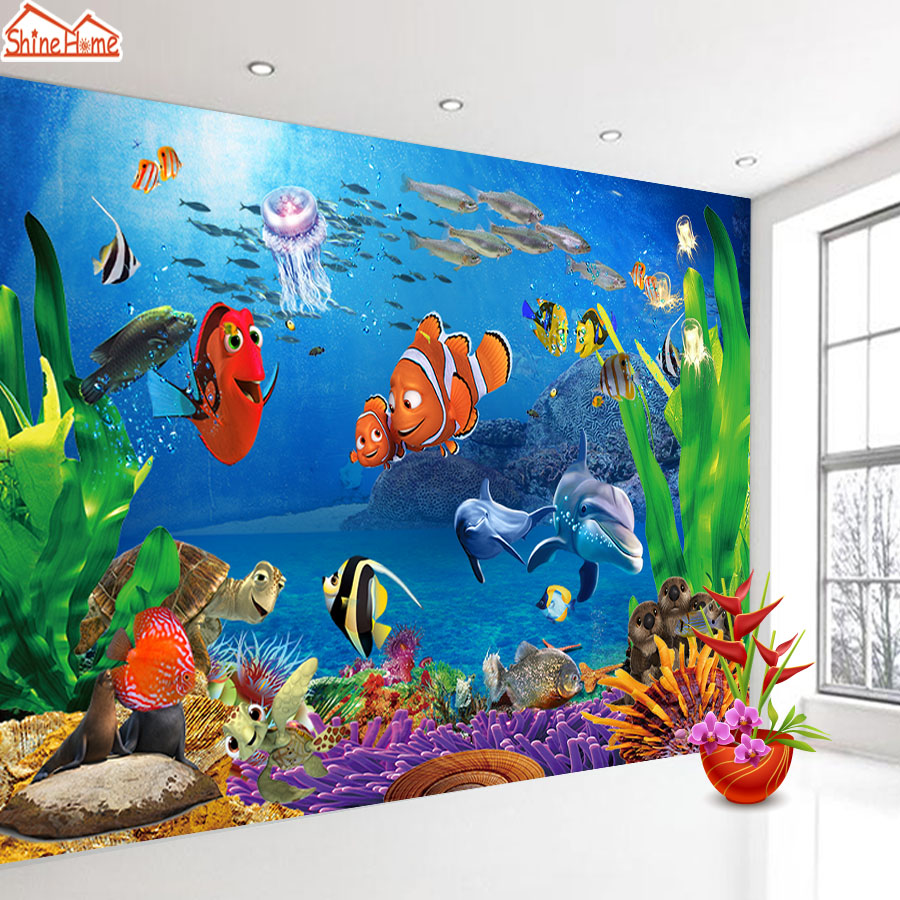 Top 8d Crystal Silk Cartoon Wallpaper Mural 3d For Living Room Kids Baby Wall Paper Seaworld Wallpapers Bedroom Rolls Background