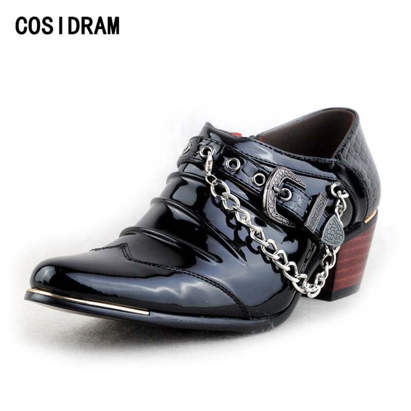 COSIDRAM 2017 Men Casual Shoes High Heels Pointed Toe Oxford Shoes For Men Wedding Shoes PU Leather Chain Male Footwear RMC-076