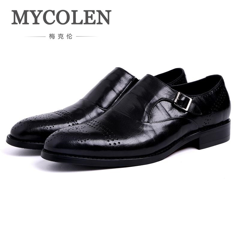 MYCOLEN 2018 New Men Shoes Casual Pointed Toe Wedding Dress Shoes Men Leather Oxford For Zapatos Hombre Sapato Social Masculino npezkgc new style cloth oxford shoes for men dress wedding shoes leather office men flat shoes height increasing zapatos hombre