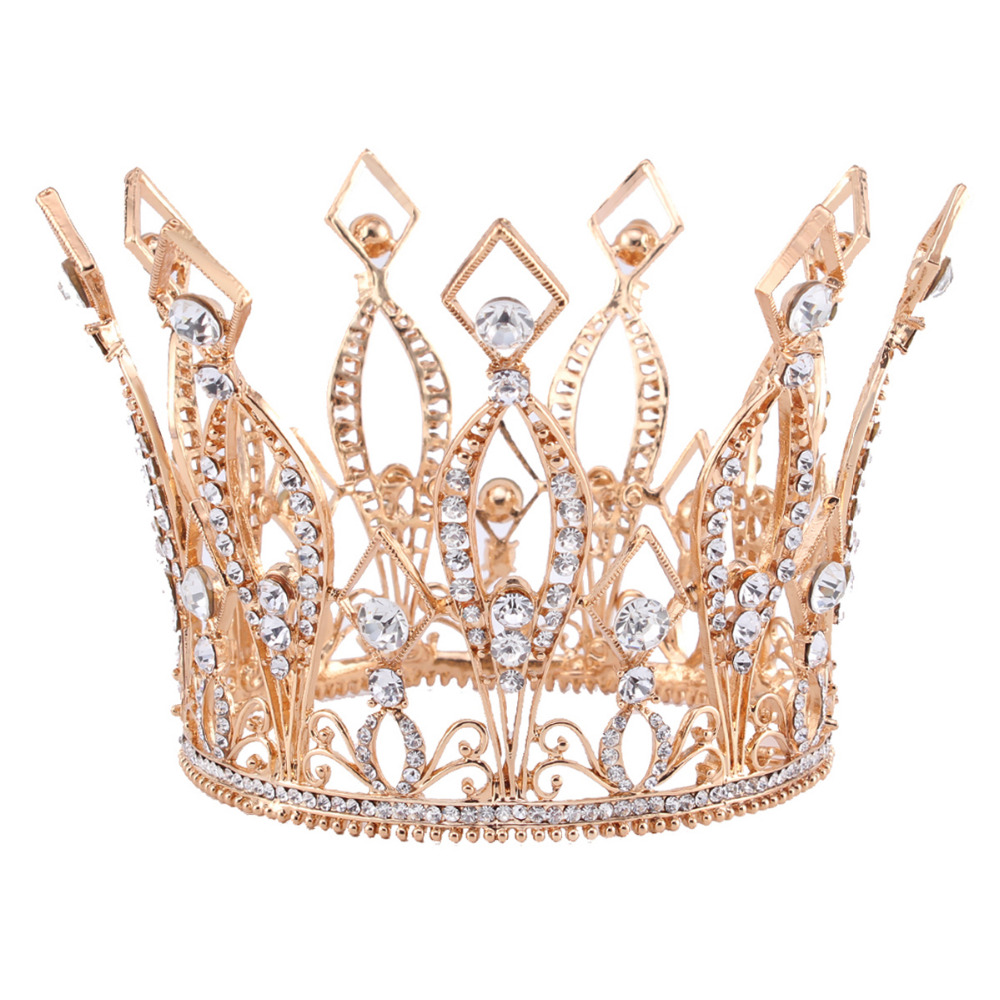 3.9 Tall Royal Wedding Tiara Bridal Pageant Beauty Contest Rhinestone Tiara Rose gold color Full Crown HG088 peacock star bridal wedding party quality sparkling pageant beauty contest black crystal tall tiara ct1389