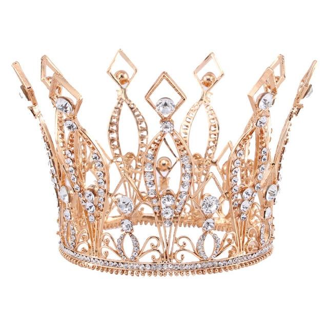 """3.9 """"de Altura Real Wedding Nupcial Tiara Concurso de Beleza Pageant Tiara de Strass Rosa banhado a ouro Cheio Coroa HG088"""