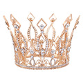 """3.9 """"de Altura Real de La Boda Tiara Nupcial Concurso de Belleza Del Desfile Tiara Rhinestone chapado en oro Rosa Completa Crown HG088"""