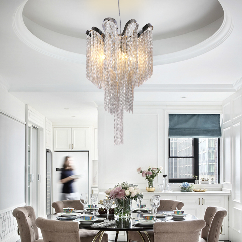Image 5 - Modern Silver Tassel Aluminum Chain Chandelier  for Living Dining room home deco-in Chandeliers from Lights & Lighting