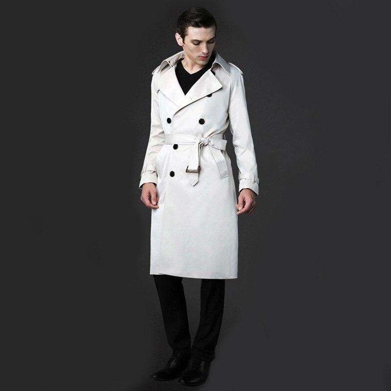 Британский Стиль Длинные Дизайн Тренч отложной воротник одноцветное Цвет тонкий Для мужчин пальто украшения пояса двубортные MSTS24