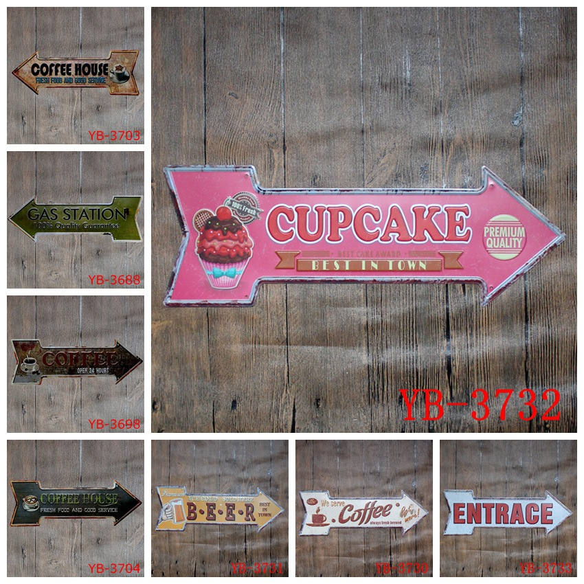 45X16CM/ antique retro metal tin sign direction arrow bar coffee house beer Iron painting poster craft vintage home decoration