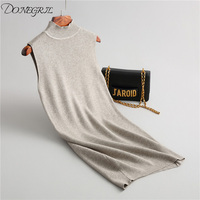 2018Autumn Style Women Sexy Sleeveless Cotton Dress Knitted Sweater Pullover Dress Solid Color High Neck Casual Slim Dres