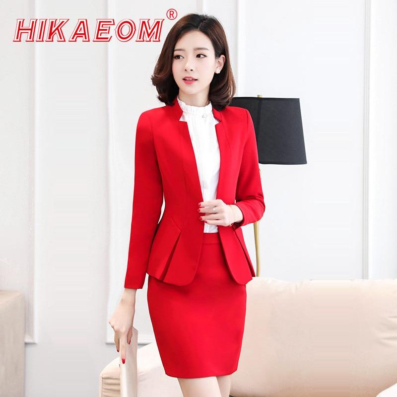 Split Formal Sets Long Sleeve Button Blazer With Skirt Set Autumn Fashion Elegant Solid Business Professional Women Work Suits