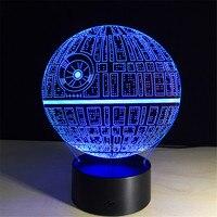 Novelty Light Star Wars Death Star 3D Illusion Lamp LED Night Lights Luminaria USB Touch 7