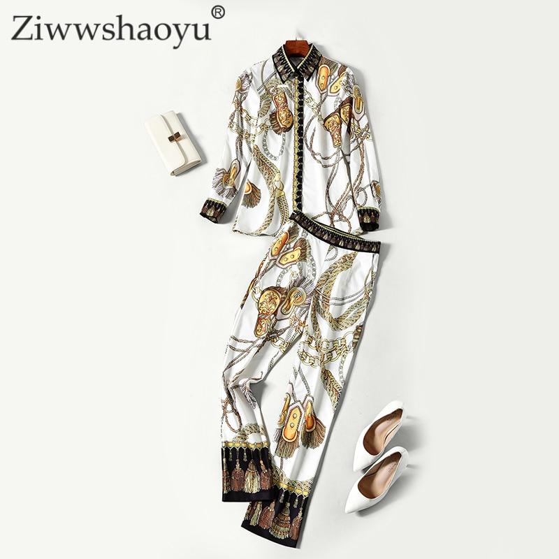 Designer Haute Luxe Qualité Blouse Avec Manches De Pleine Automne Or Twinset Pantalon Baroque Multi Femmes Imprimé Costume Ziwwshaoyu 5pFq1XwB