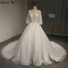 الأبيض الخامس الرقبة مضيئة كم فساتين الزفاف الجديدة 2020 الترتر اللؤلؤ الفاخرة سباركلي الراقية فستان الزفاف صور حقيقية