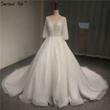 Белое свадебное платье с v образным вырезом и Расклешенным рукавом 2020 роскошное блестящее свадебное платье с блестками и жемчугом настоящая фотография