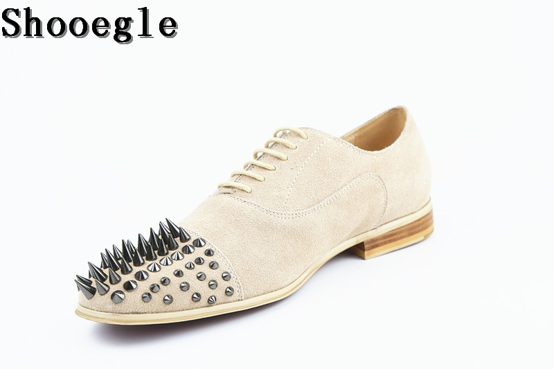 SHOOEGLE Own Brand Luxury Men Oxfords High Quality Men Dress Shoes Suede Breathable Loafers Rivets Fashion Lace-up Shoes Man top brand high quality genuine leather casual men shoes cow suede comfortable loafers soft breathable shoes men flats warm