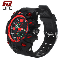 TTLIFE Brand Mens Sports Watches Waterproof Fashion Casual Quartz Digital Watch LED Multifunction Wrist Watches for Men