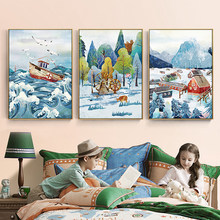 Cute Ice And Snow World Canvas Painting Cartoon Fairy Tale Town Poster Print For Kid Room Nursery Home Decor Wall Art Picture(China)