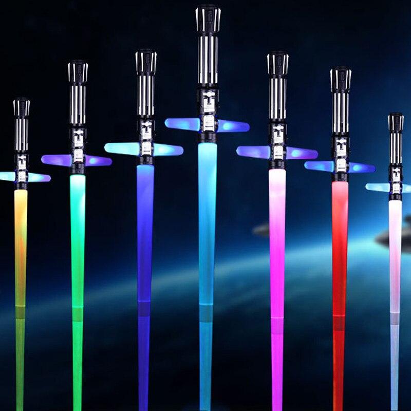 2Pcs 87cm Sword Light Saber Retractable Toy Crossing Star Wars Lightsaber Kids Favorite Star Wars Lightsaber PVC Gift