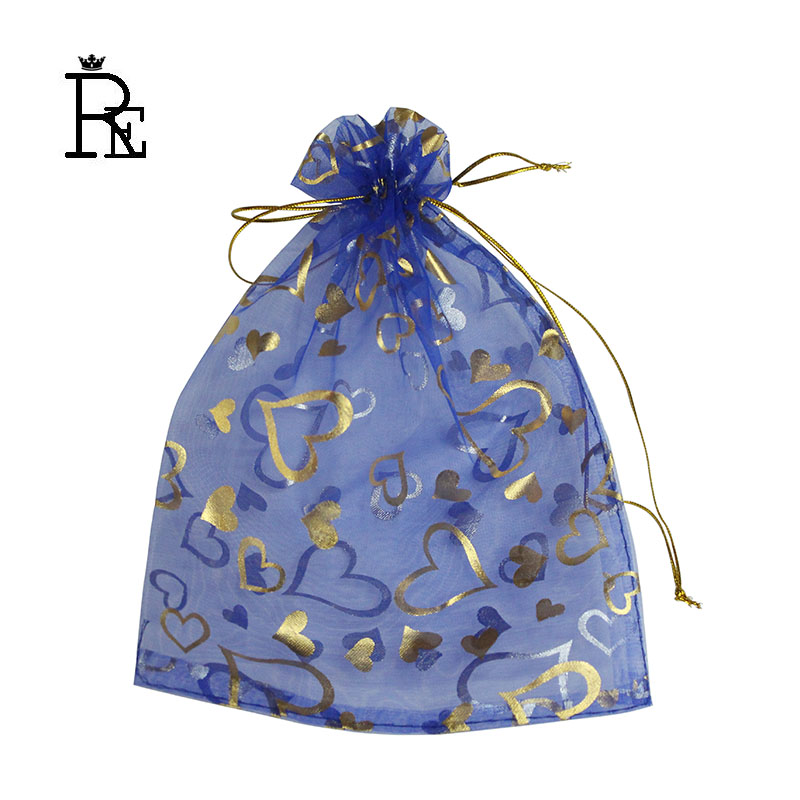 RE 100pcs/lot 7x9cm - 20x30cm Heart Gold Bronzing Organza Bags Blue Jewelry Packaging Bags Wedding Favor Gift Candy Pouches