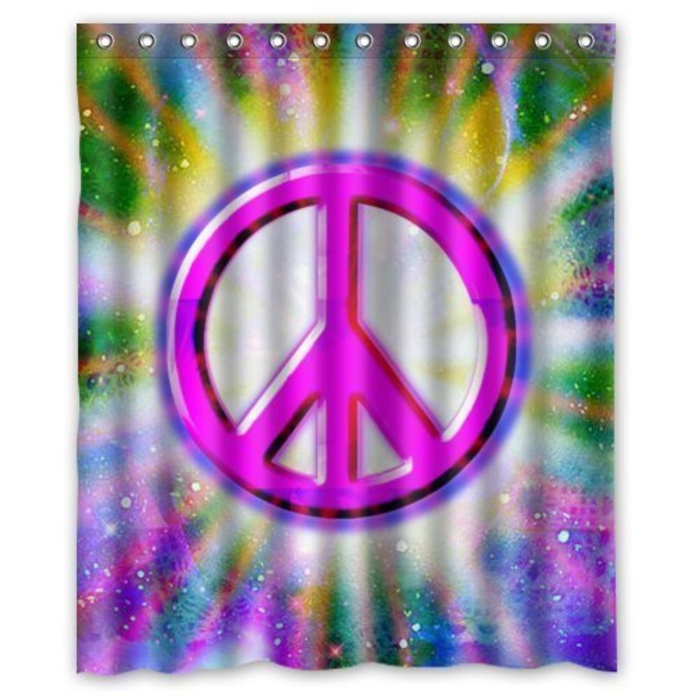 Sea Secretes Cute Peace Sign Custom Shower Curtain Pattern Waterproof  Fabric Shower Curtain For Bathroom 66*72inch