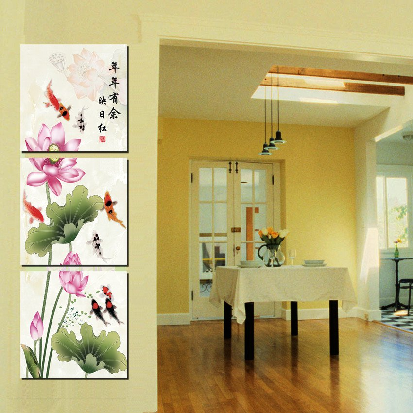 Home Decoration 3 Pieces No Frame Picture Canvas Prints Lotus Leaf Fish Mountain Waterfall Tree